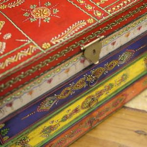 k58-877 indian gift jewellery box drawers colourful front detail