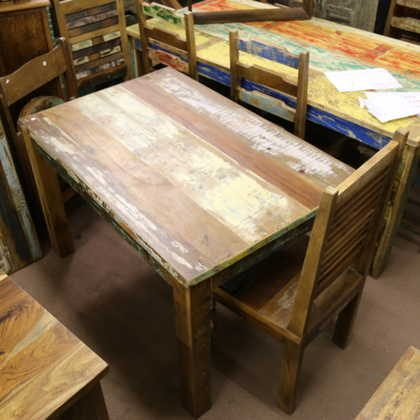 k58-rd-120 indian furniture dining table 120x80 reclaimed red blue white