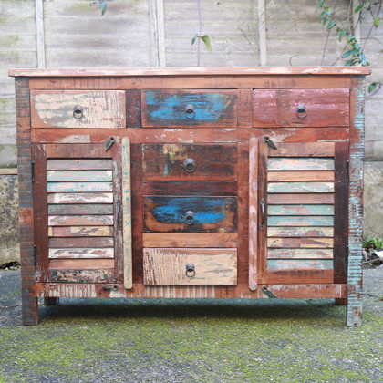 k59-dsc02466 indian furniture sideboard reclaimed 2 cupboards 6 drawers closed
