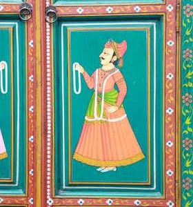 k59-img_3928 indian furniture cabinet hand painted door detail