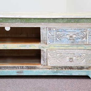 k59-ms-1004 indian furniture tv unit dhoni carved wood drawers