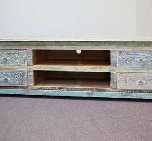 k59-ms-1004 indian furniture tv unit dhoni carved wood front