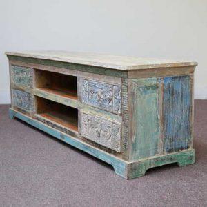 k59-ms-1004 indian furniture tv unit dhoni carved wood side