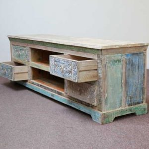 k59-ms-1004 indian furniture tv unit dhoni carved wood open drawers