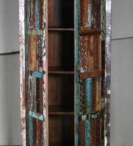 k60-80360 indian furniture cabinet reclaimed carved panels open