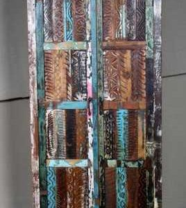 k60-80360 indian furniture cabinet reclaimed carved panels colourful