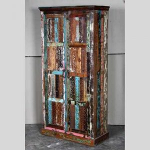 k60-80360 indian furniture cabinet reclaimed carved panels angle