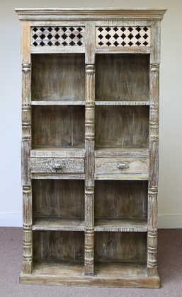 k60-80361 indian furniture bookcase spindles 2 drawers nishan front unusual