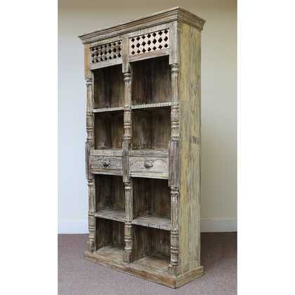 k60-80361 indian furniture bookcase spindles 2 drawers nishan angle
