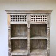 k60-80361 indian furniture bookcase spindles 2 drawers nishan top detail