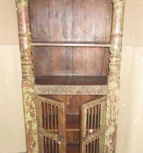 k60-80372 indian furniture cabinet bookcase iron bar old