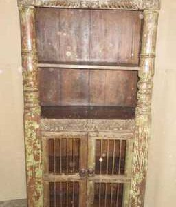 k60-80372 indian furniture cabinet bookcase iron bar old solid