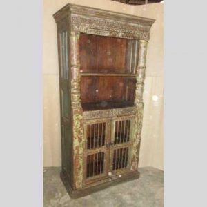 k60-80372 indian furniture cabinet bookcase iron bar old solid angle
