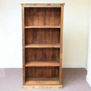 k60-80392 indian furniture bookcase reclaimed slatted front view