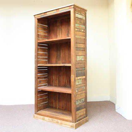 k60-80392 indian furniture bookcase reclaimed slatted sides