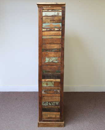 k60-80392 indian furniture bookcase reclaimed slatted distressed side