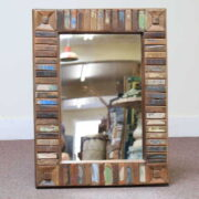 k60-80417 indian furniture mirror reclaimed block small blue turquoise