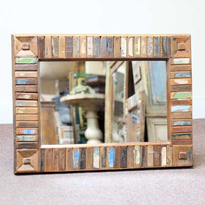k60-80417 indian furniture mirror reclaimed block small unique frame