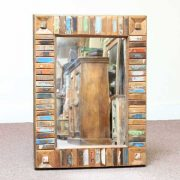 k60-80417 indian furniture mirror reclaimed block small portraint view