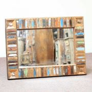 k60-80417 indian furniture mirror reclaimed block small landscape view