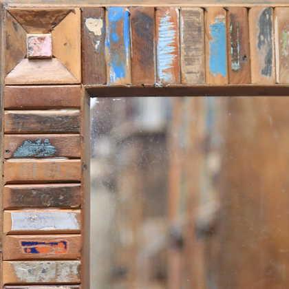 k60-80417 indian furniture mirror reclaimed block small corner detail