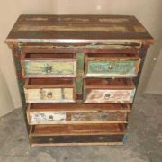 k60-80420 indian chest of 6 drawers reclaimed top open