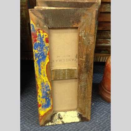k60-80454 indian photo frame double reclaimed blue yellow