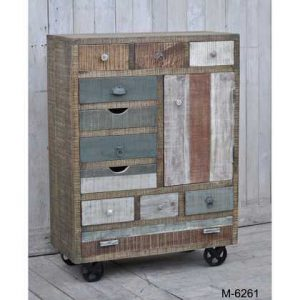 kh10-m-6261 indian furniture chest industrial drawers