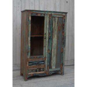 kh10-m-9242 indian furniture cabinet rustic colourful