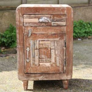 kh11-RS-04 indian furniture retro rustic bedside closed