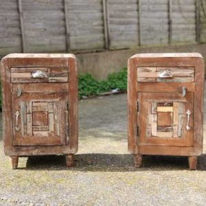 kh11-RS-04 indian furniture retro rustic bedside two