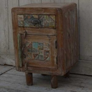 kh11-RS-04 indian furniture retro rustic bedside angle
