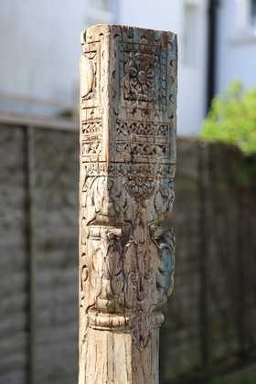 kh11-RS-11 indian furniture vintage wooden pillar detail