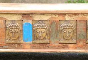 kh11-RS-147 indian furniture carved wood trunk Buddha detail close