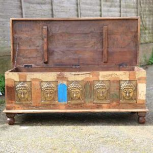 kh11-RS-147 indian furniture carved wood trunk open