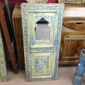 kh11-RS-168 indian furniture carved panel mirror blue