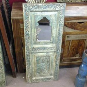 kh11-RS-168 indian furniture carved panel mirror green