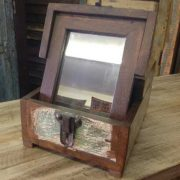 kh11-RS-27 indian barber mirror reclaimed wood open