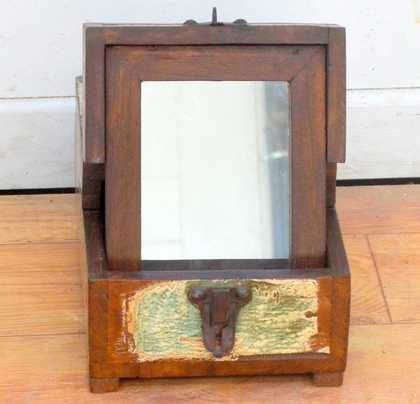 kh11-RS-27 indian barber mirror reclaimed wood open front