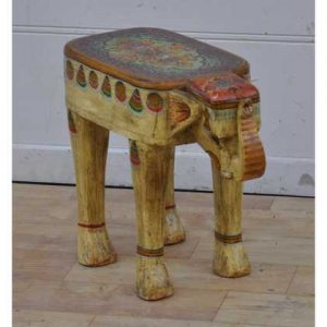 kh11-RS-56 indian furniture hand painted elephant side table white side