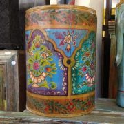 kh11-RS-57 indian furniture hand painted waste bin colourful