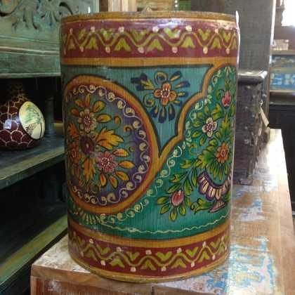 kh11-RS-57 indian furniture hand painted waste bin green