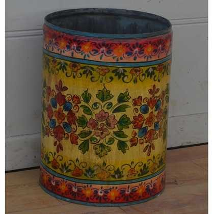 kh11-RS-57 indian furniture hand painted waste bin grapefruit