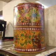 kh11-RS-57 indian furniture hand painted waste bin yellow