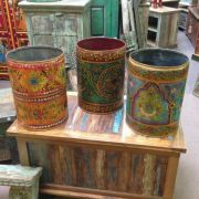 kh11-RS-57 indian furniture hand painted waste bin set