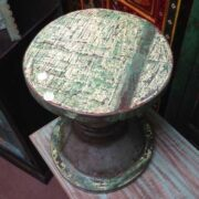 kh11-RS-64-a indian furniture round wood stool distressed