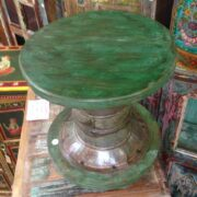 kh11-RS-64 indian furniture round wood stool green metal top
