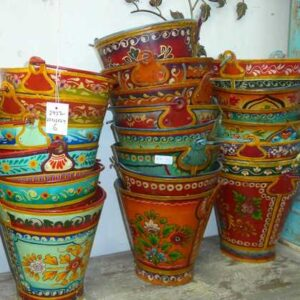 Hand Painted Metal Buckets Various Colours Jugs Furniture