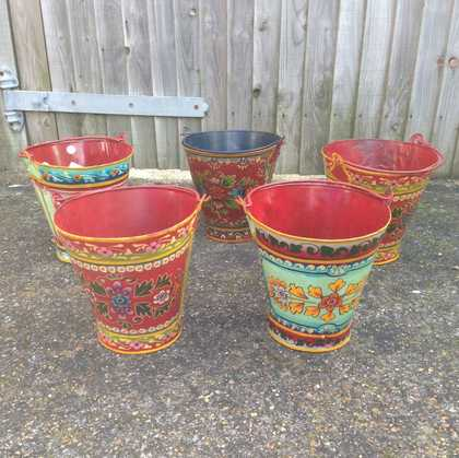 kh11-RS-88 indian furniture hand painted bucket set