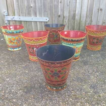 kh11-RS-88 indian furniture hand painted bucket colourful set